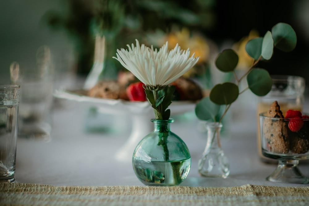 white flower in green glass vase
