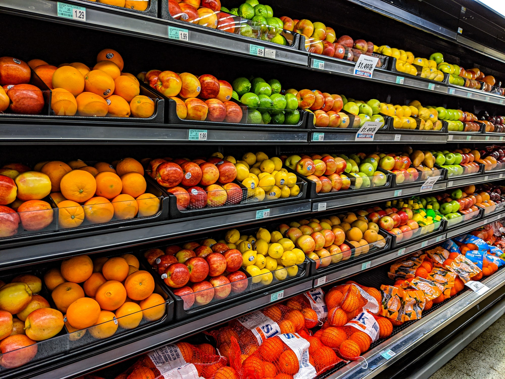 Fruit display in supermarket
