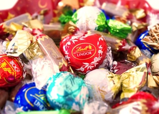 red and white candy wrapper