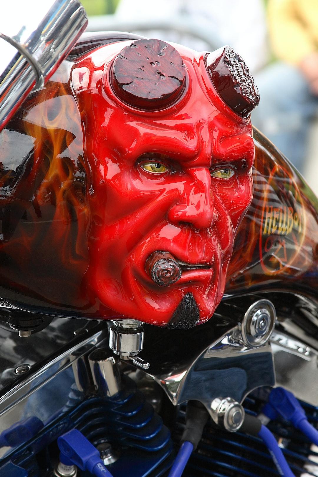 Hellboy Bike, Yorkshire Rock & Bike Show.  Tank Left side