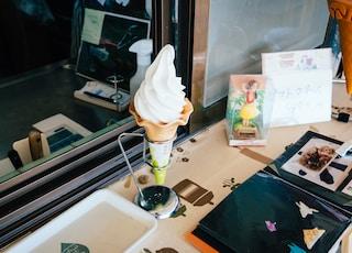 ice cream on white cone