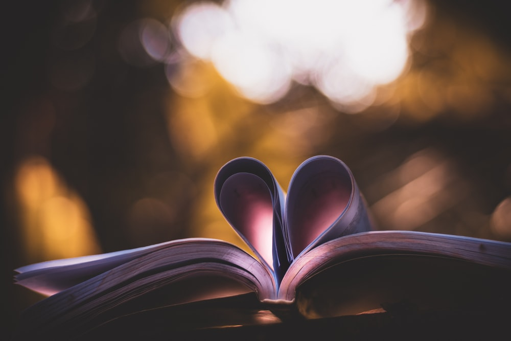 brown book page with heart shaped