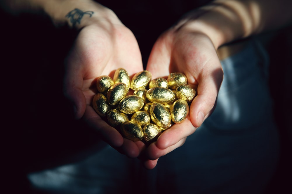 person holding brown and black round fruits