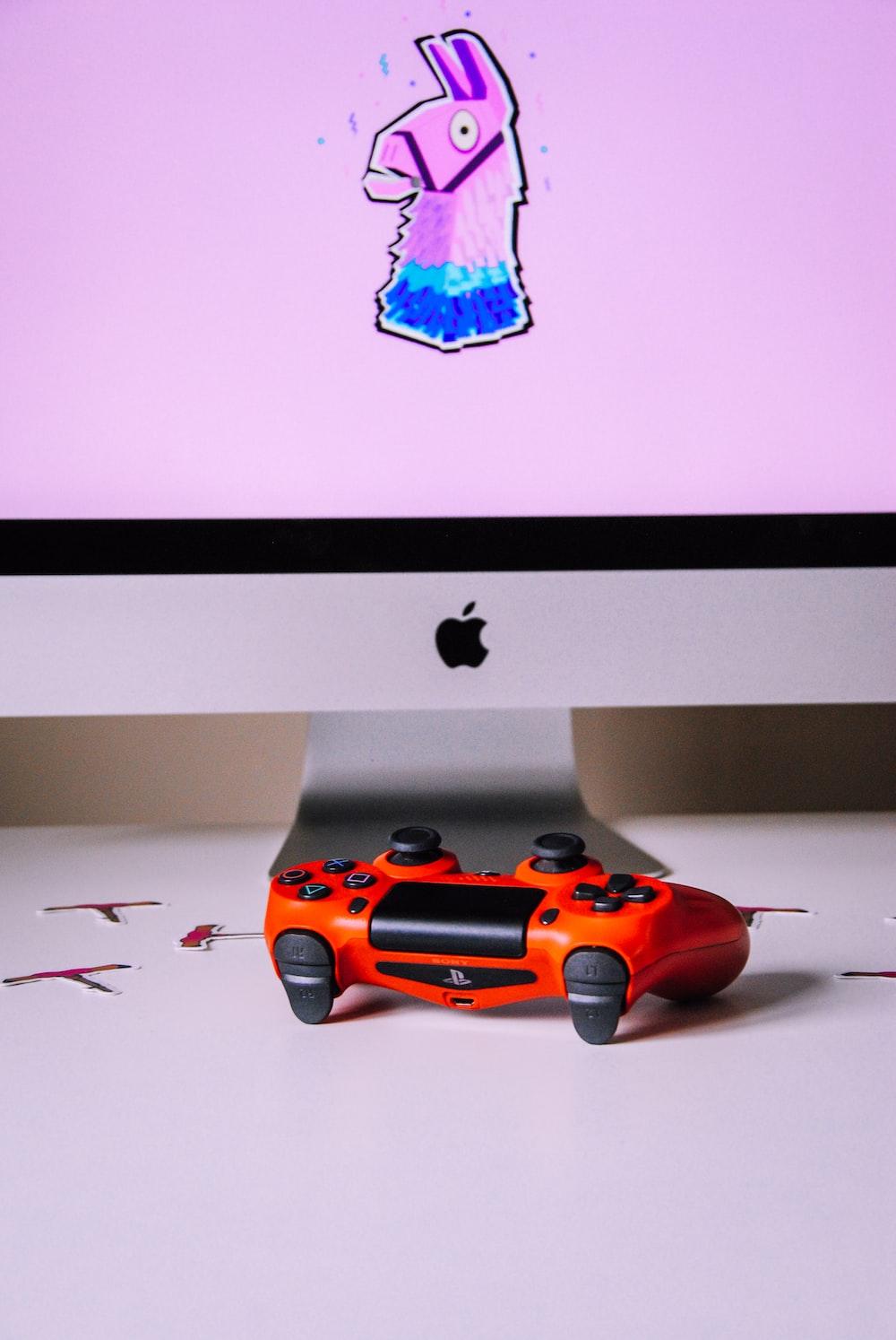 orange car on white table