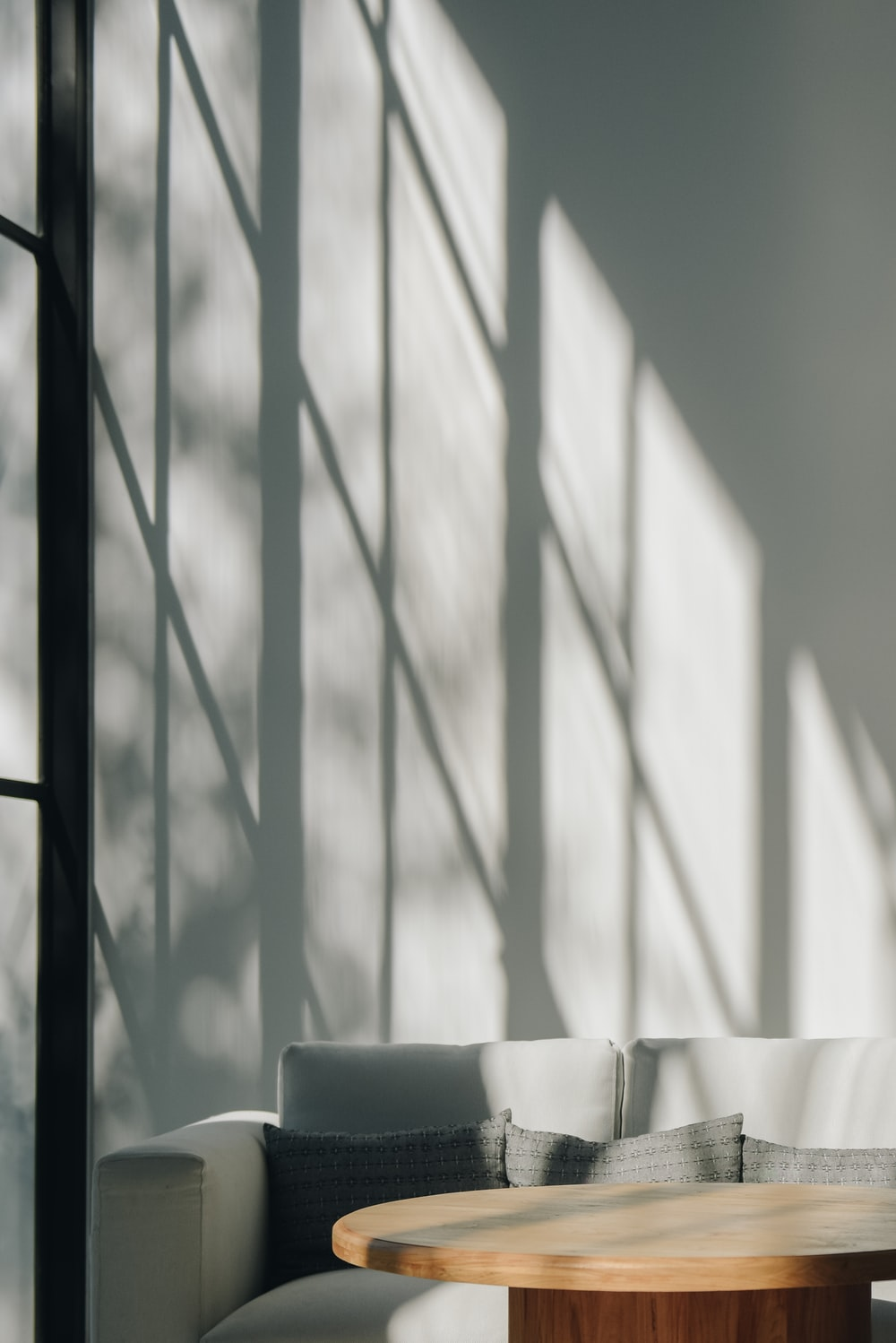 white and black window curtain