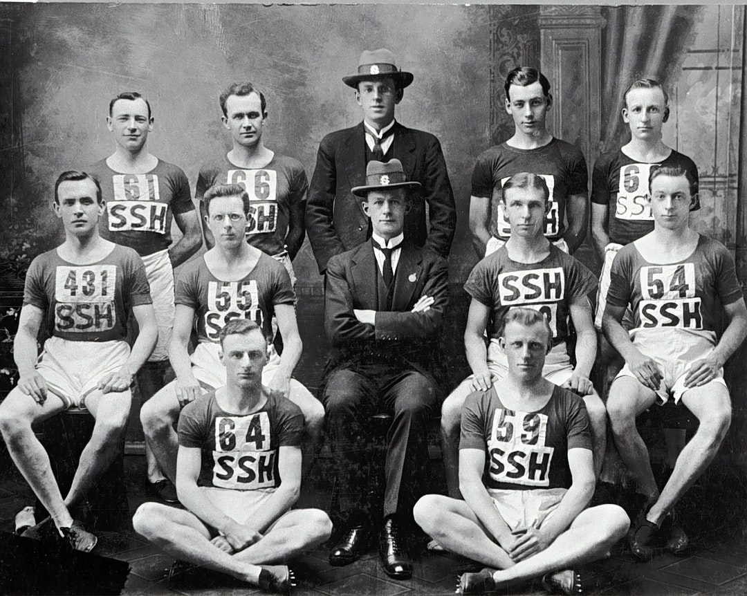 Team portrait of the Street Stephen 's Harriers. They were the cross country champions of Victoria. Team Portrait of the Street Stephen's Harriers, Sydney, New South Wales, 1922