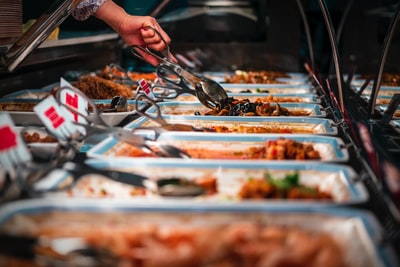 buffet trays of food