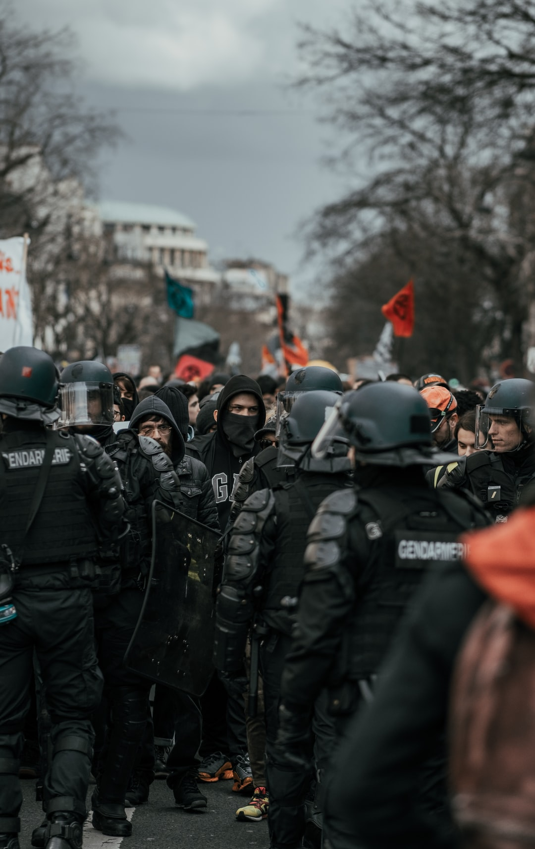 Man facing the police in the streets of Paris. This is taking place during a protest against Macron's government's use of the law 49.3
