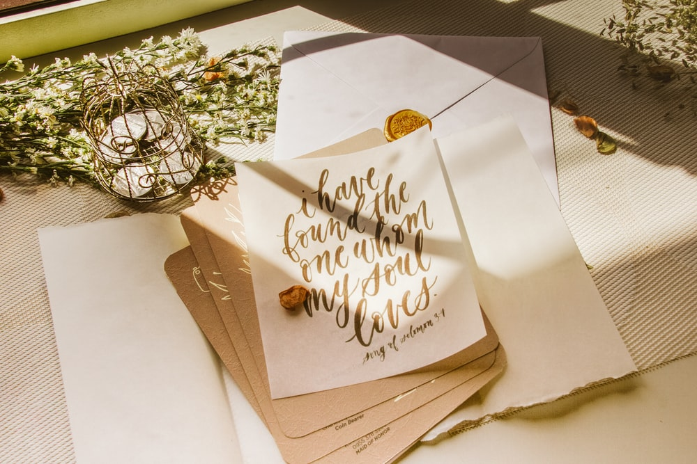 happy birthday greeting card on brown wooden table