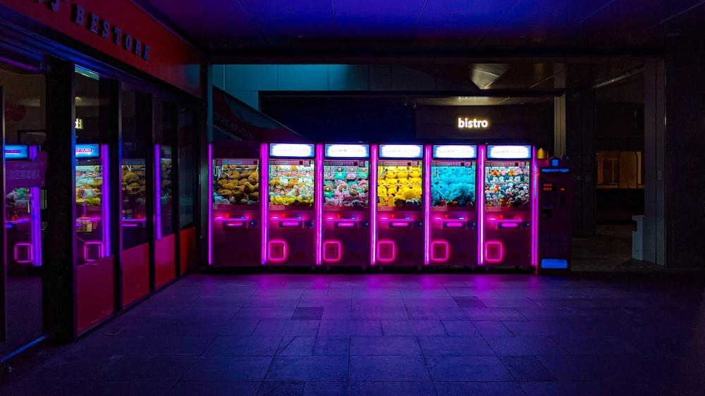 blue and black vending machine