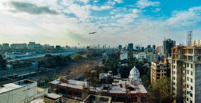 bird flying over city buildings during daytime mumbai zoom background