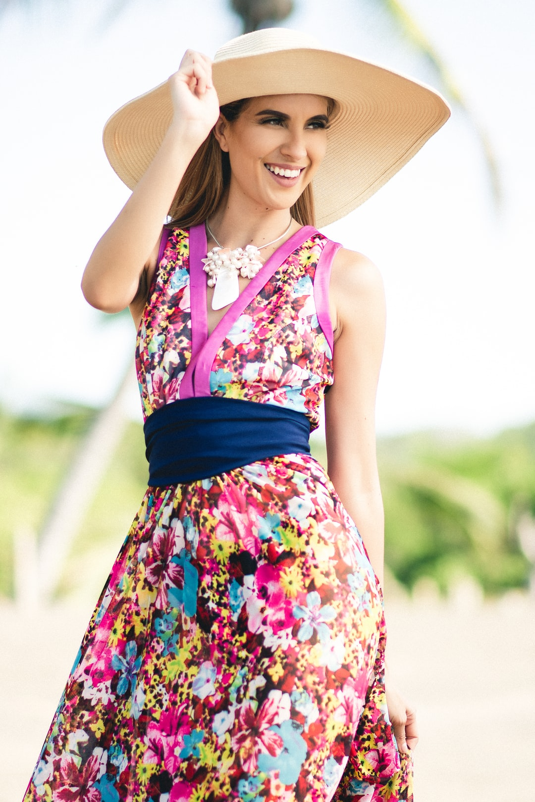 Spring Season Floral Dress Modeling with Fashionable Style