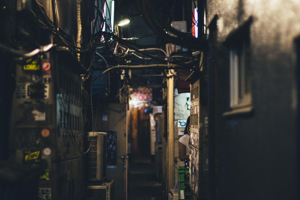 alley in between buildings during night time