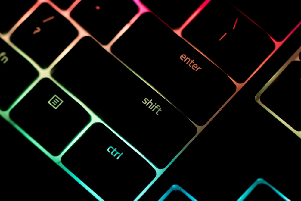 purple and black computer keyboard