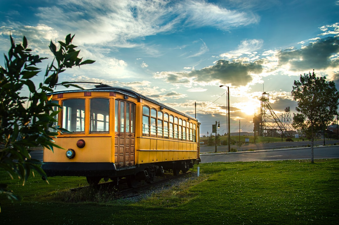One of Buttes finest trolleys on display along with Montana's beautiful sunset.