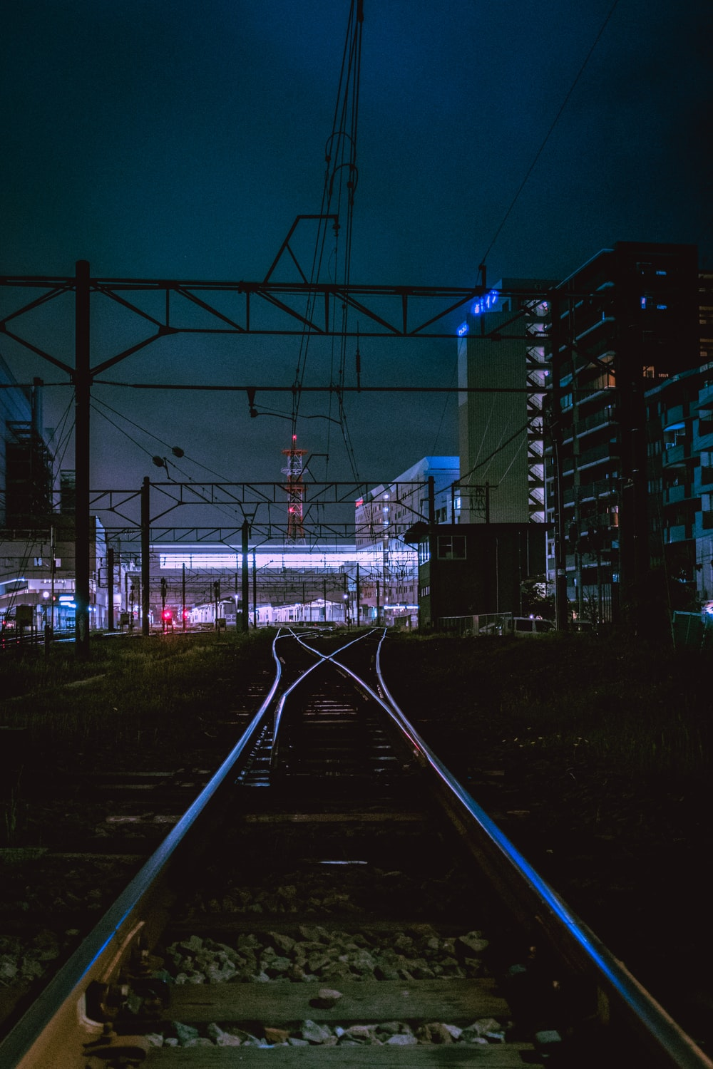 train rail with blue lights