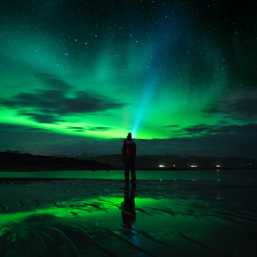 person standing on seashore under green sky with stars during night time