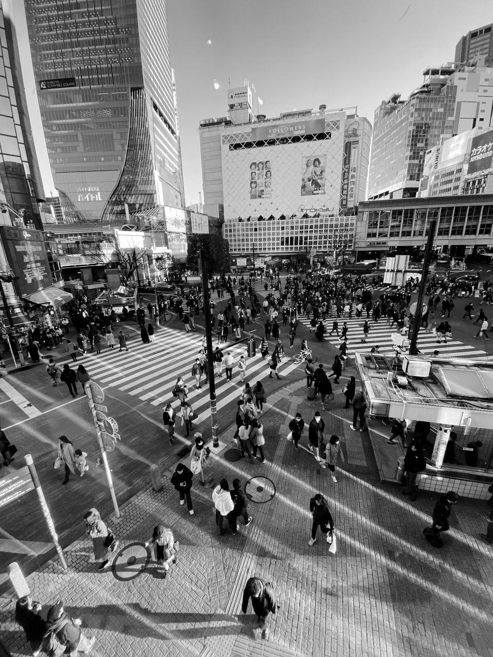 grayscale photo of people on street