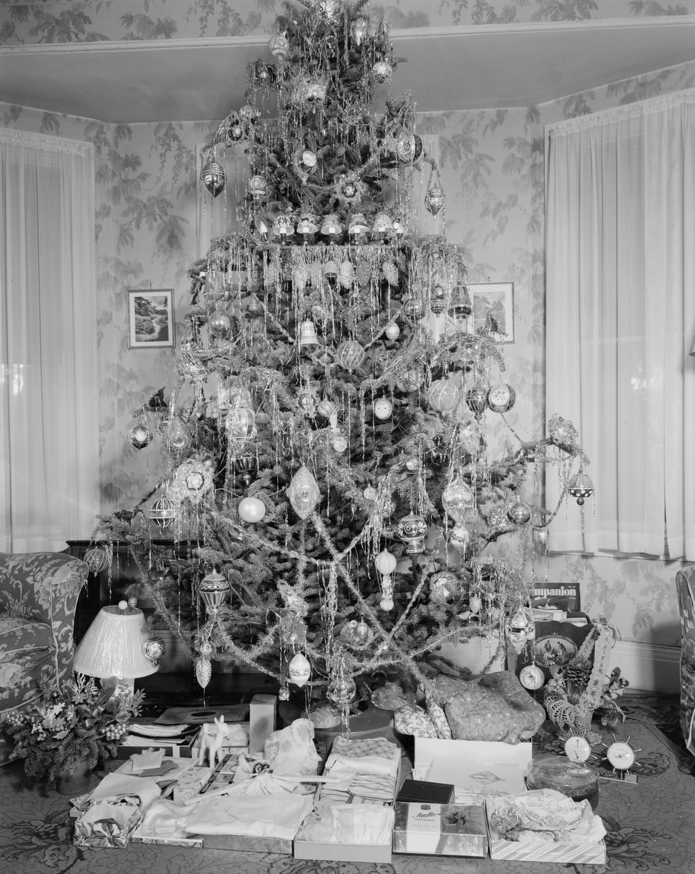 grayscale photo of hanging decor