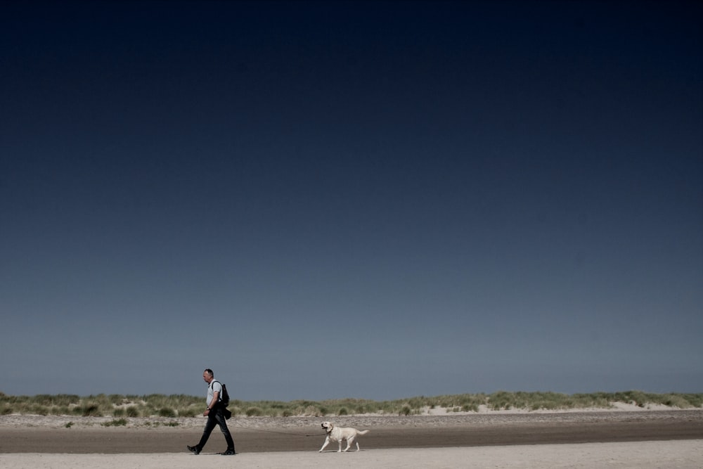 man in red jacket and black pants walking with white dog on brown sand during daytime