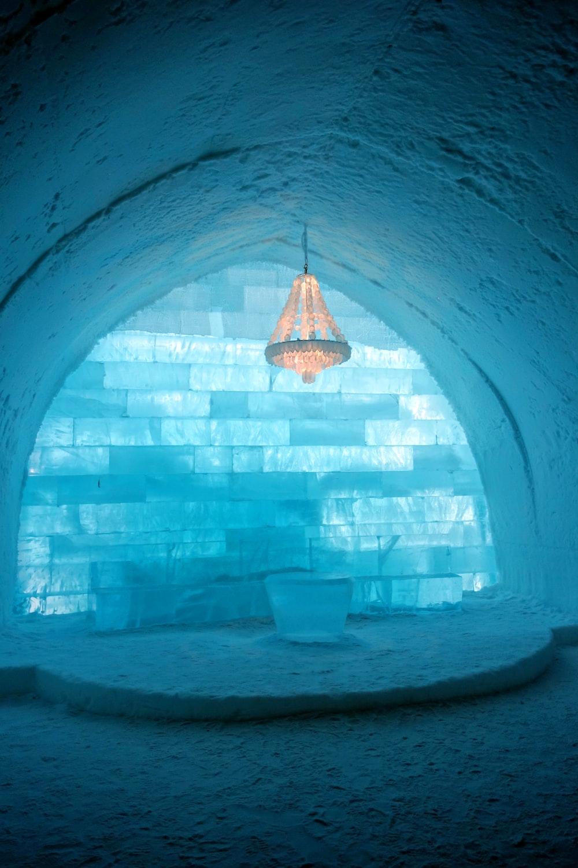 blue and white concrete tunnel