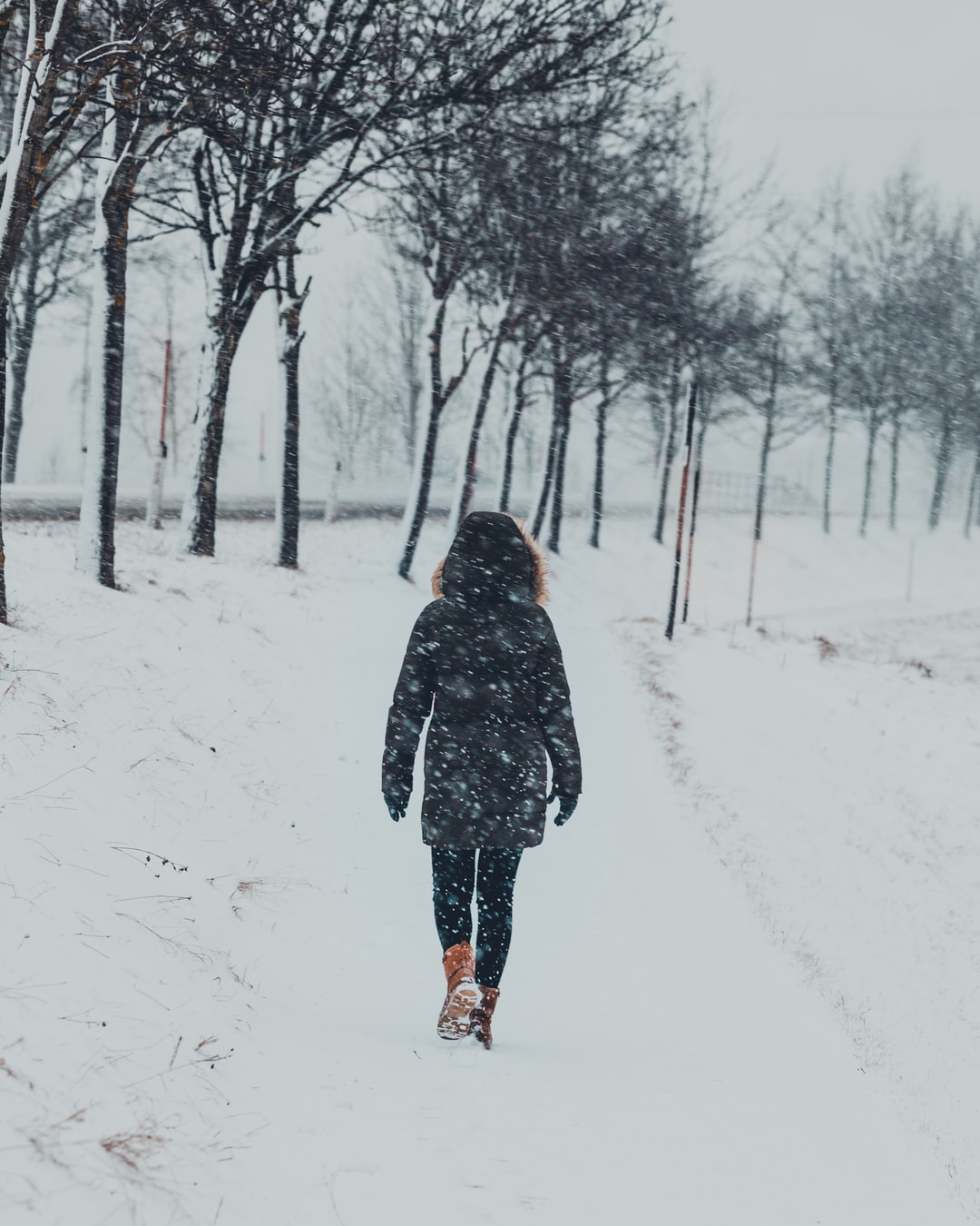 My girlfriend taking a walk in a snowstorm near Turracher Höhe, one of Austria's greates ski parks.  The photo was shot on my Canon 6D with the Canon 70-200 F4L lens.