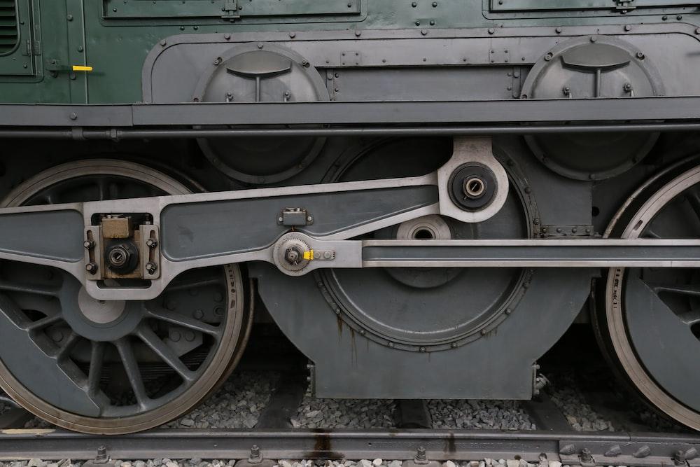 black and silver train wheel