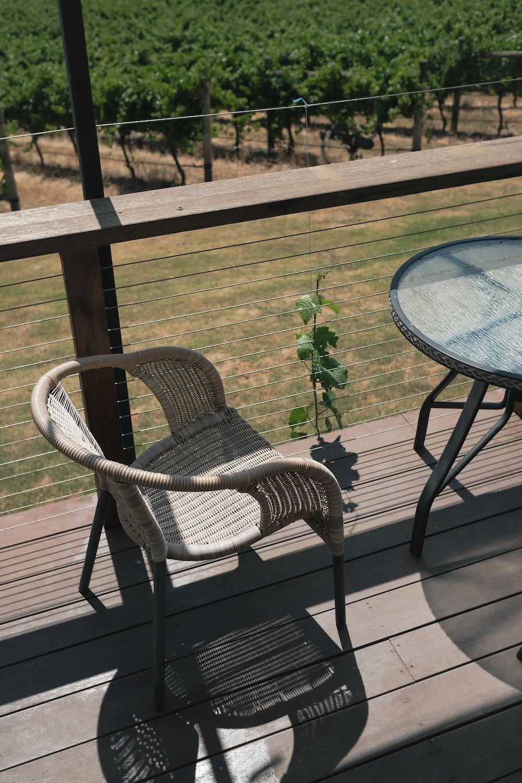 black metal framed glass round table