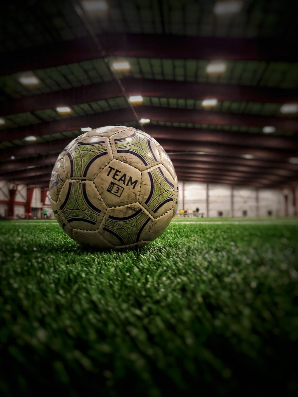 white soccer ball on green grass field