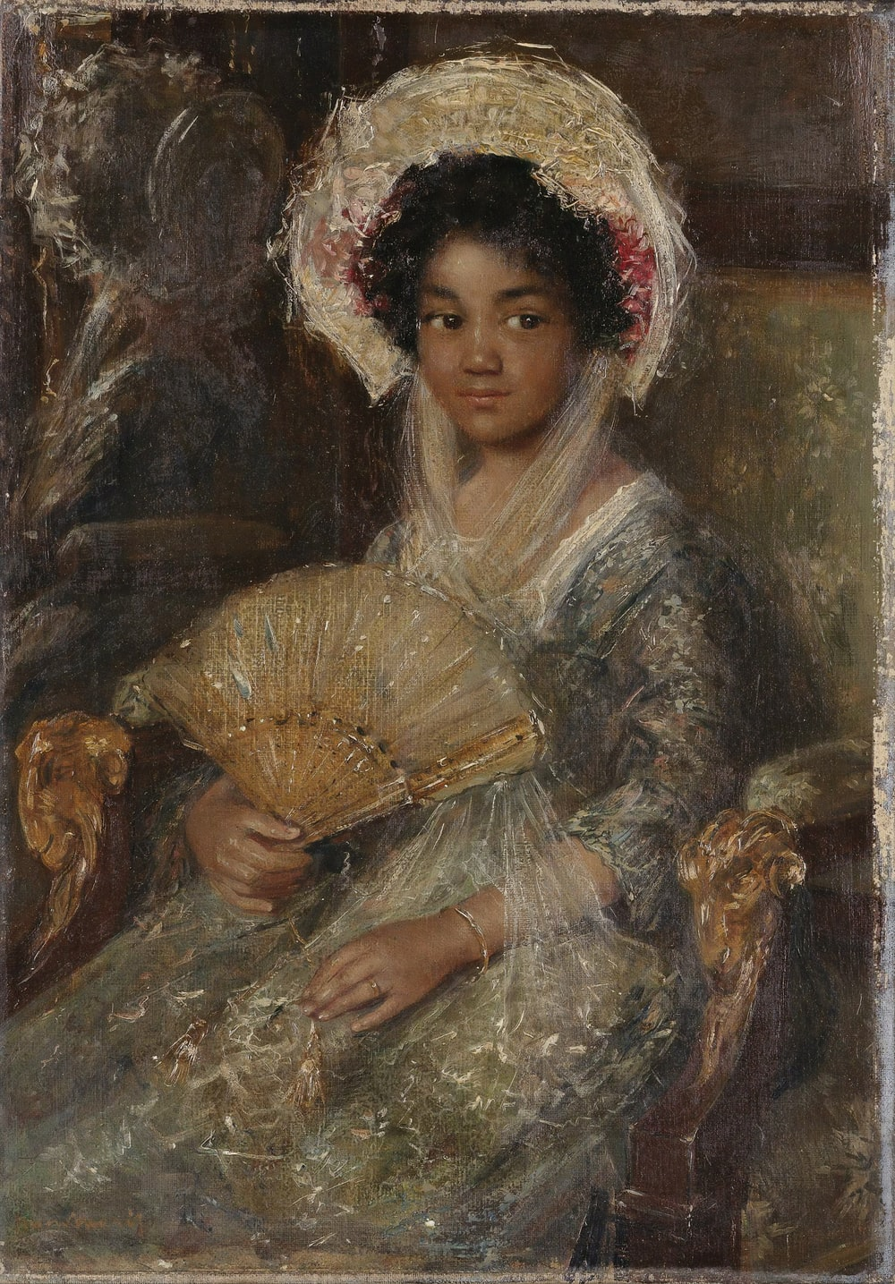 woman in brown and white dress painting