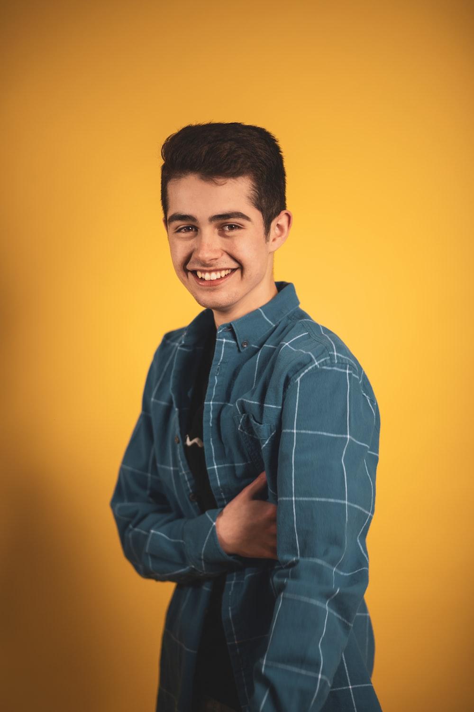 man in blue dress shirt