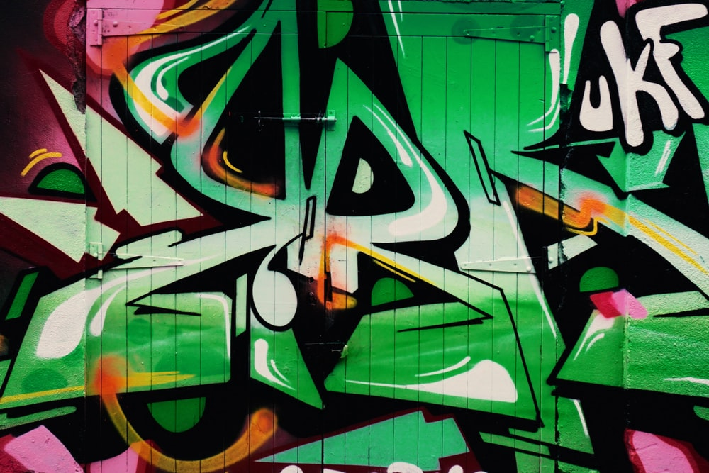 green and brown graffiti art