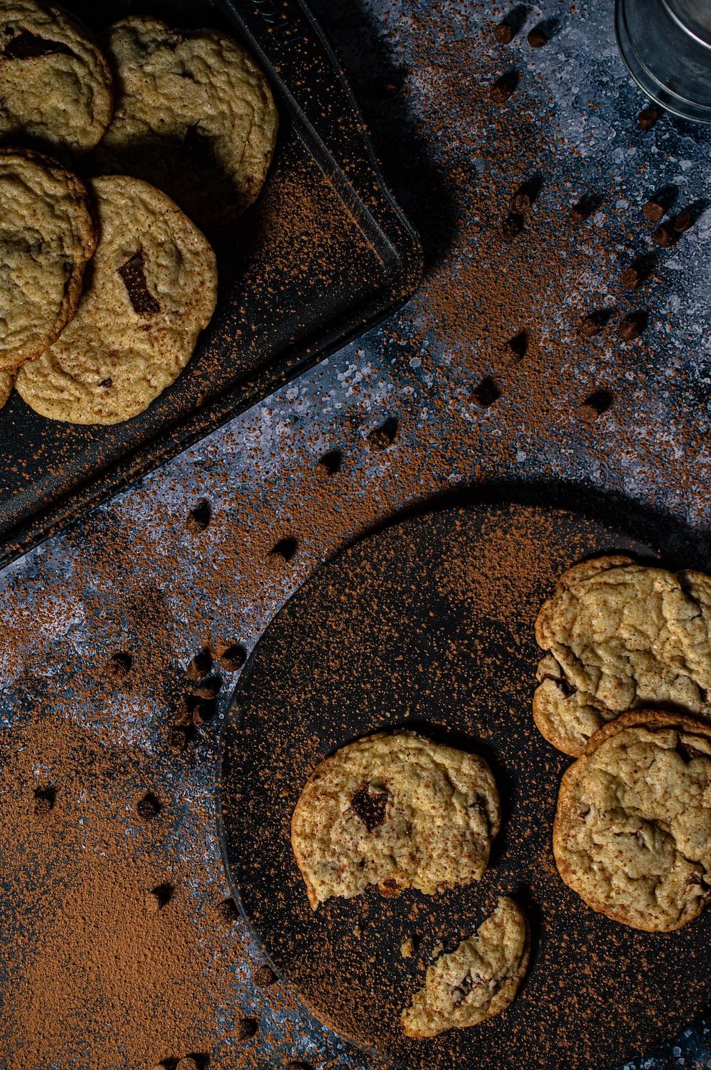 cookies on black metal tray