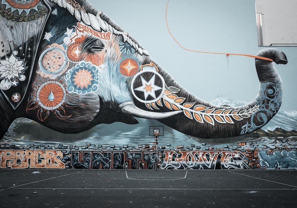 blue and white horse graffiti
