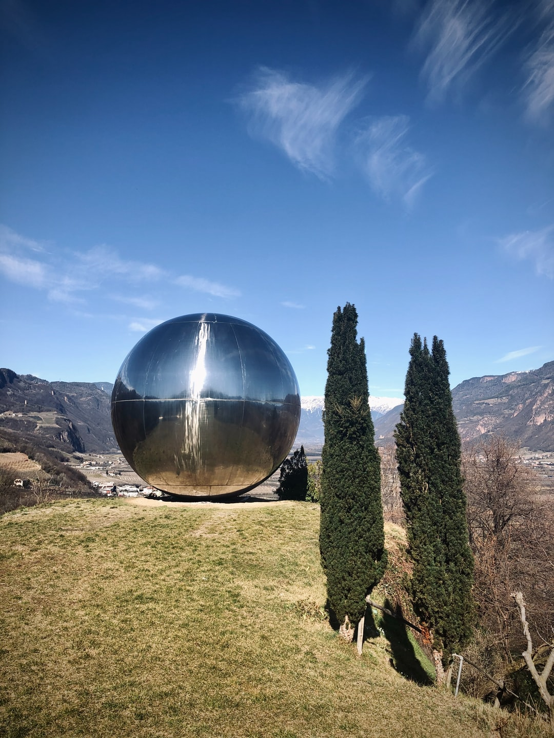 The Kugel (Sphere) made by Franz Messner in 1994 close to Bozen in South Tyrol (Italy) on a very brisk early March day. The object is 25 ft high and overlooks the Etsch Valley (Etschtal) up to the city of Meran. For RNL.  March 08, 2020, 1105 AM.