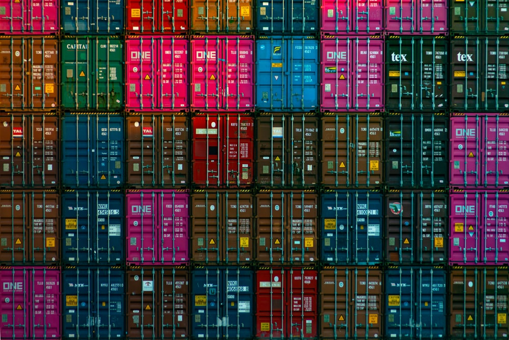 red and black plastic crates