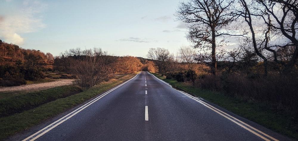 gray asphalt road between brown grass field during daytime