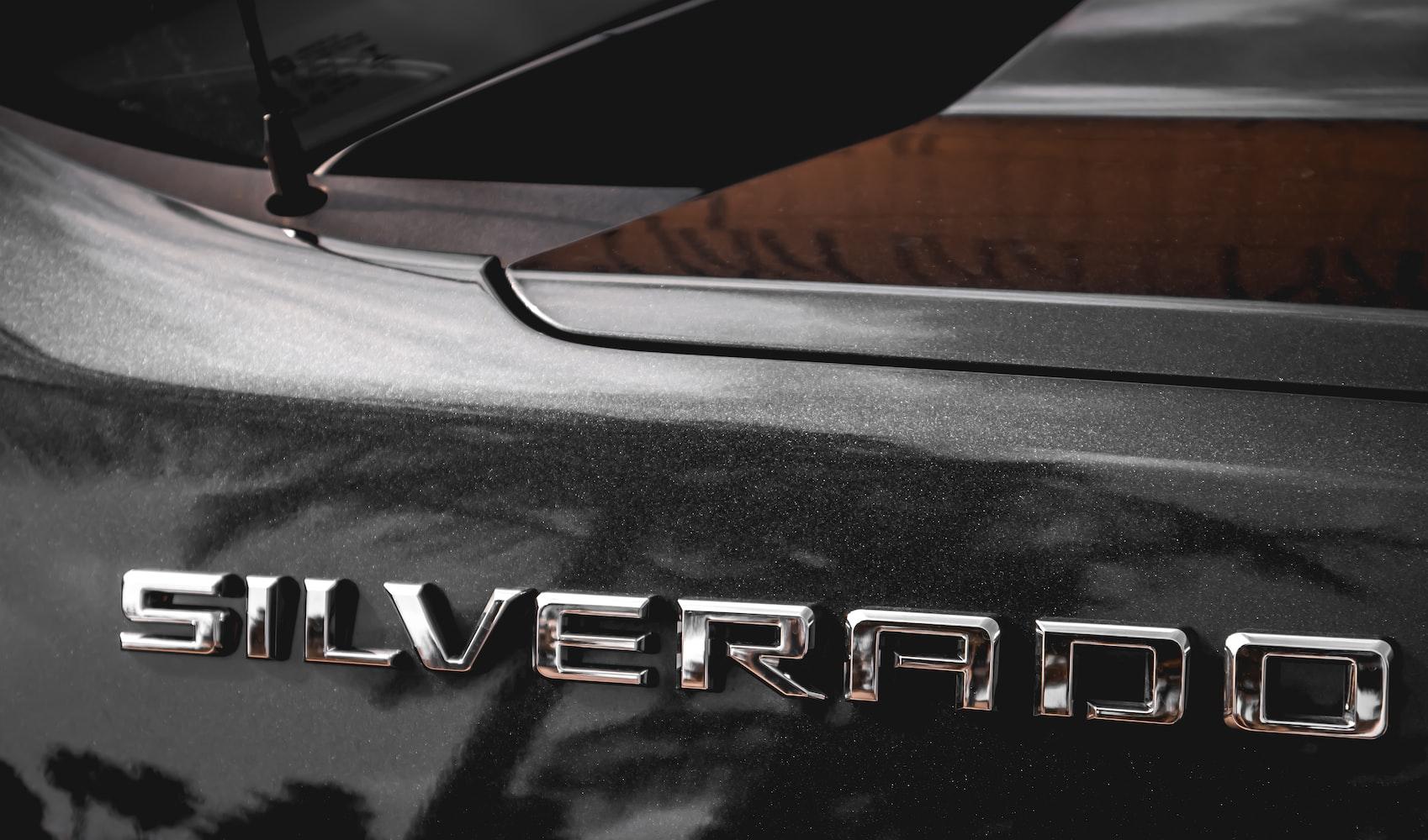 Back bumper of a Chevy Silverado
