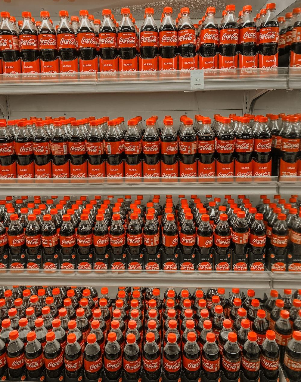 coca cola bottle on shelf
