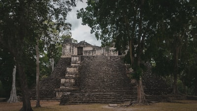 brown brick wall near green trees under white clouds during daytime mayan pyramid teams background