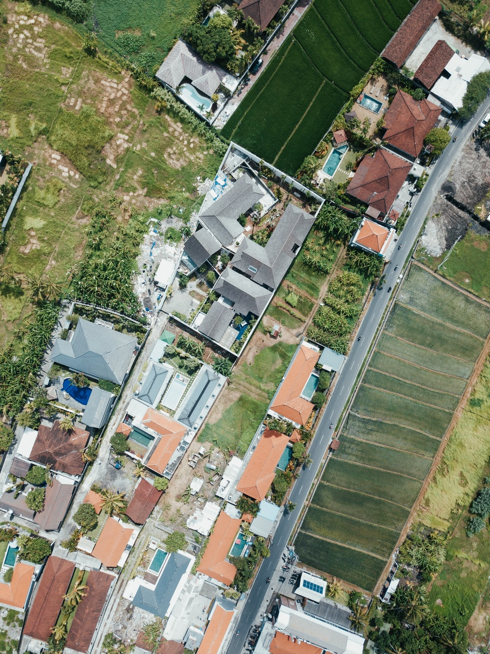 aerial view of houses and trees during daytime
