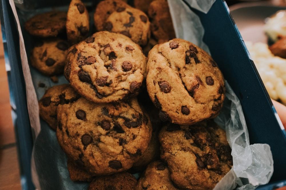 brown cookies on white plastic pack