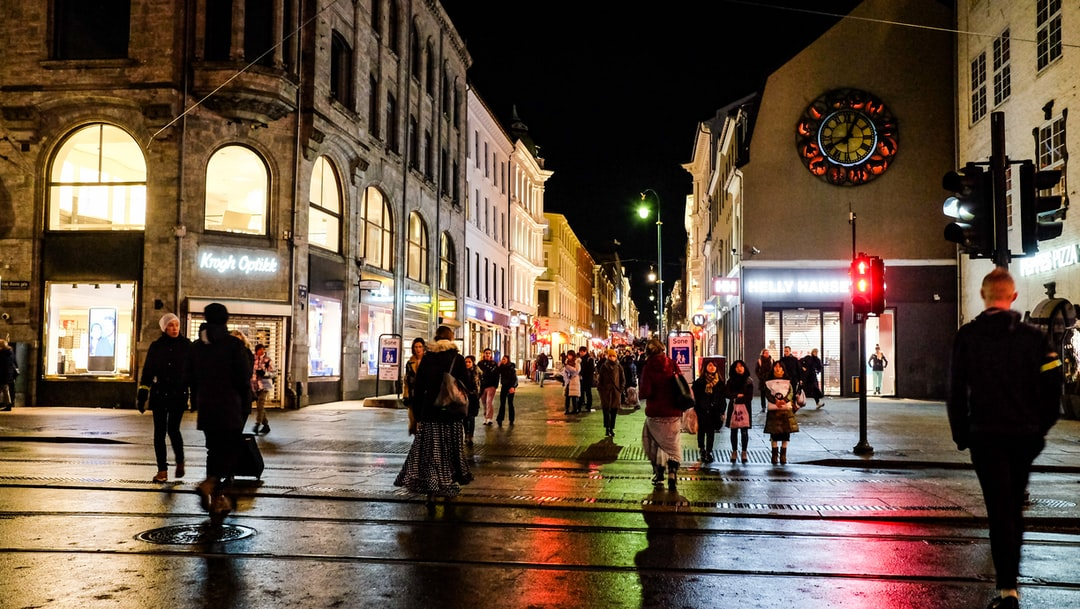 The winters are dark in Norway. The city center of Oslo, capital of Norway in the afternoon. Karl Johan, the Main Street in Oslo.