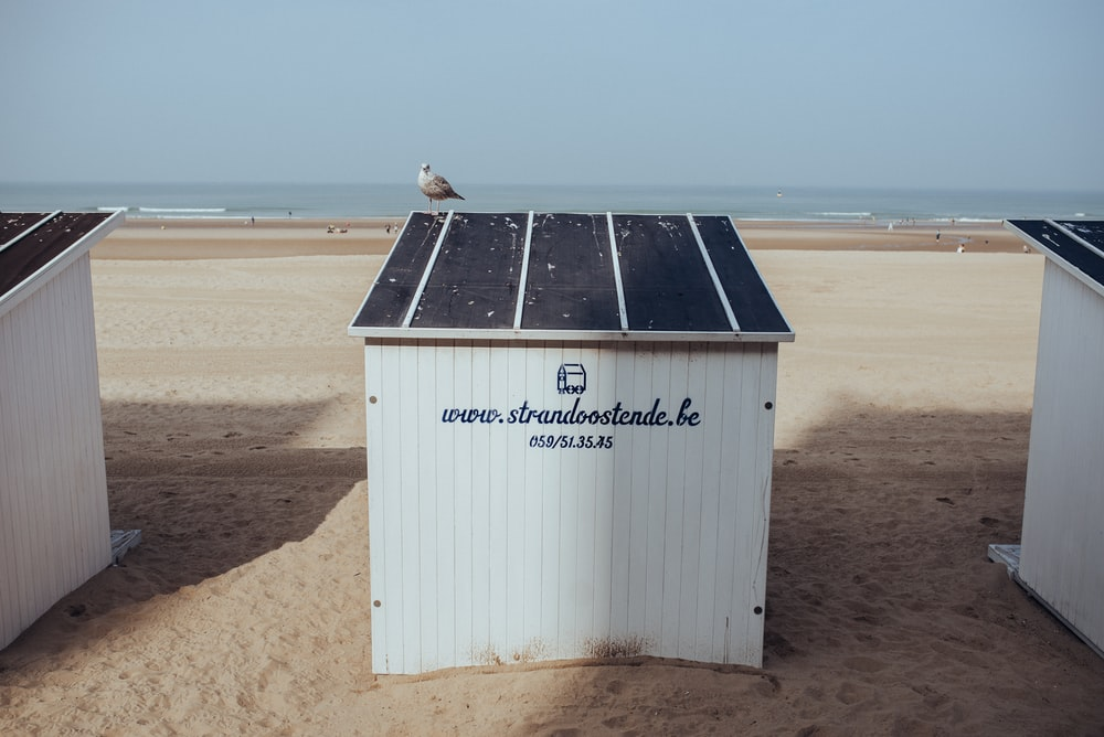 white and black wooden shed on brown sand during daytime