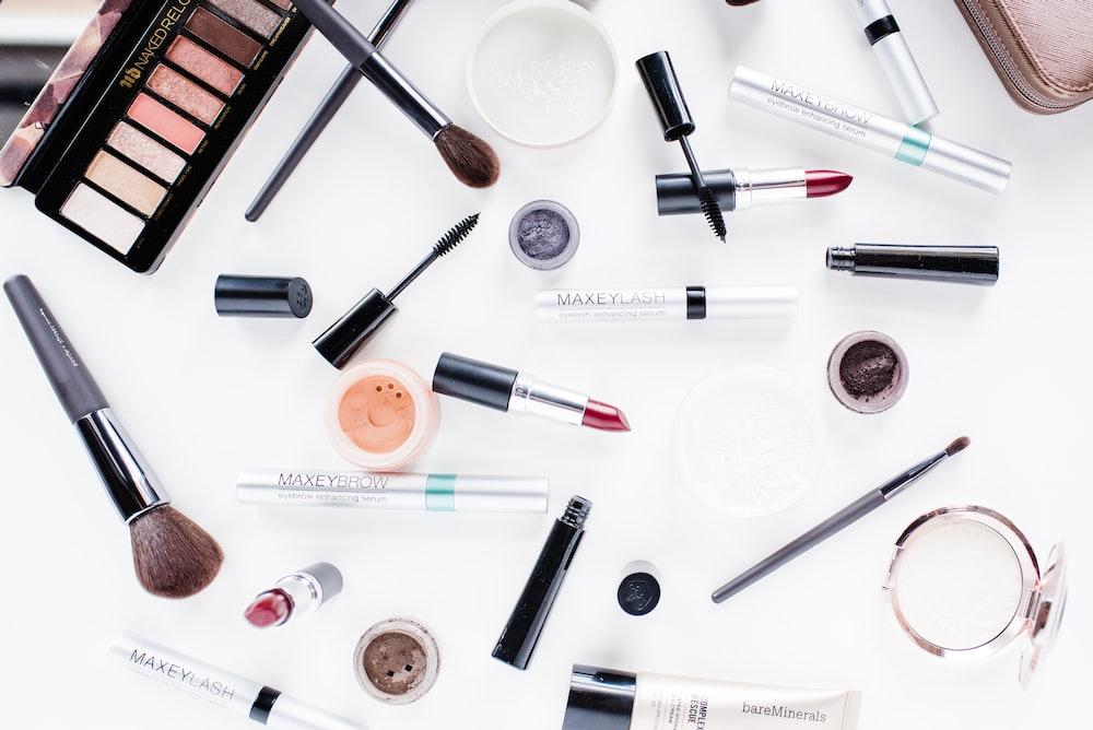 makeup brush set on white table