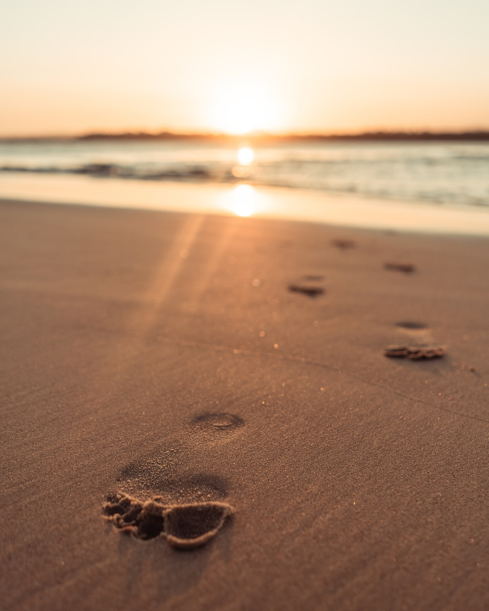 brown sand on beach during sunset