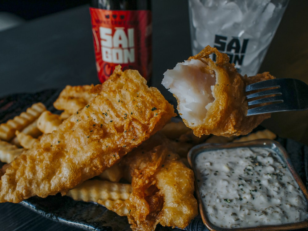 fried food on black tray