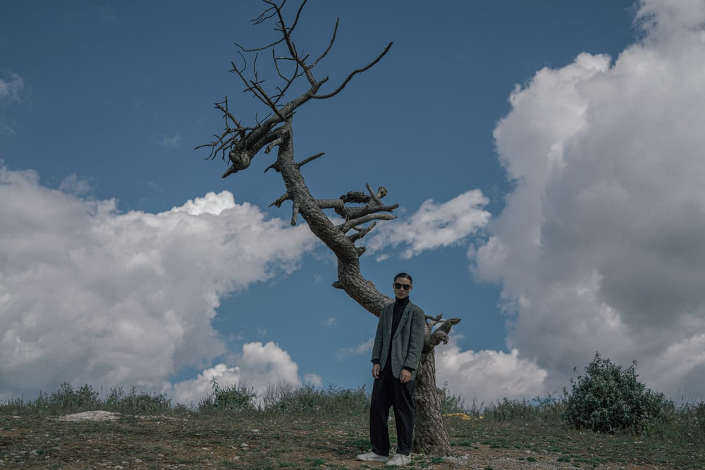 man in black jacket standing on brown tree branch under blue and white sunny cloudy sky