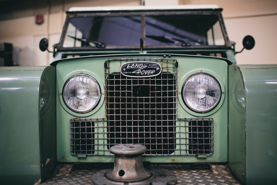 Vintage retro styled british off-road cross country car Land Rover Defender radiator grill