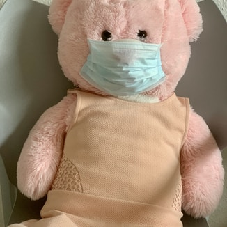 pink bear plush toy on white textile